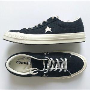 Converse One Star Onyx Navy Black Polka Dot Laces